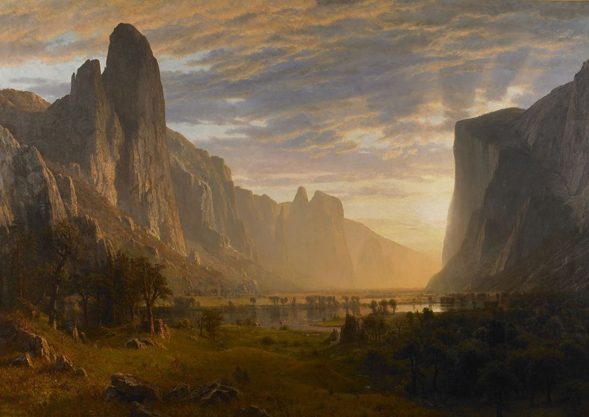 Bierstadt, Albert: Looking Down Yosemite Valley, California. Fine Art Print/Poster (4325)